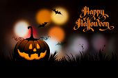 Halloween night obscured foundation with pumpkin and calligraphy engraving Happy Halloween. Vector