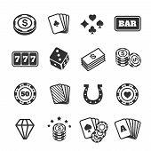 Gambling symbols set, club and card, poker diversion. Vector representation