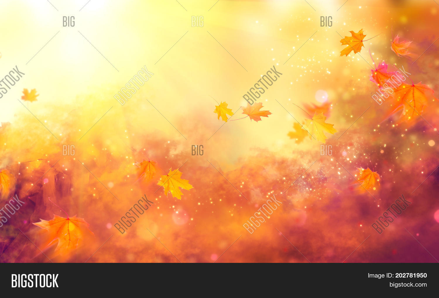 Autumn background. Fall Abstract autumnal background with colorful leaves and sun flares, flying on