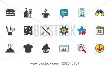 Food Drink Icons Coffee And Hamburger Signs Cocktail Cheese And