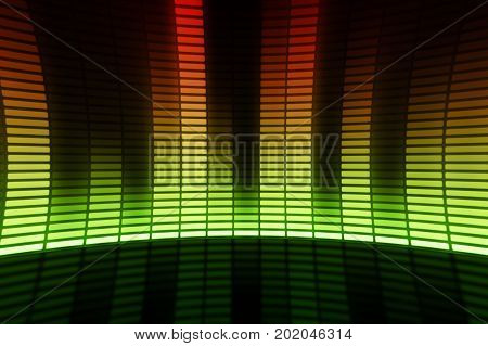 Eq equalizer scale with reflection and chart 3d on dark background stock photo