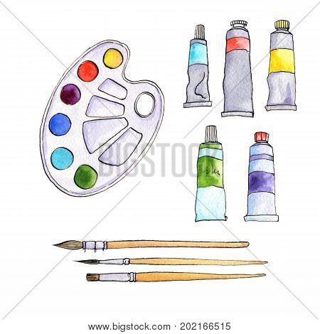 art materials, line drawing set of  bristle and synthetic brushes for painting and calligraphy and paint tubes, hand drawn watercolor illustration stock photo