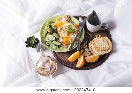 Concept of breakfast in bed. healthy breakfast Flat lay