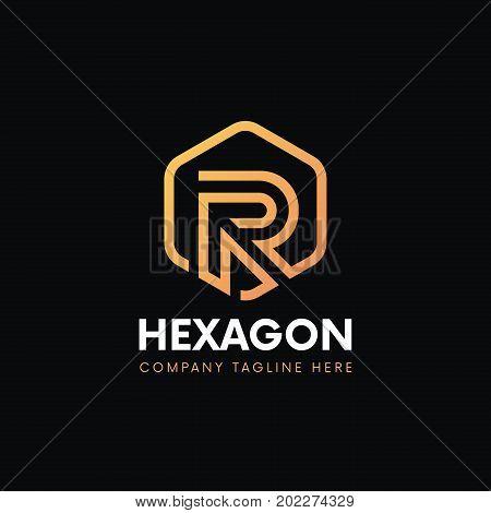 Luxury R letter hexagon logo linear icon sign vintage design. stock photo