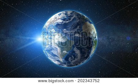 Sunrise view from space on Planet Earth. South America zone. World in black Universe in stars. High