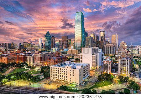 Dallas, Texas, USA downtown city skyline. stock photo