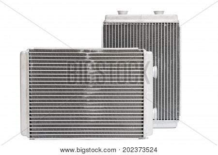 Various automobile radiators for engine cooling systems for air conditioning for heating the passenger compartment for cooling the oil in an automatic transmission stock photo