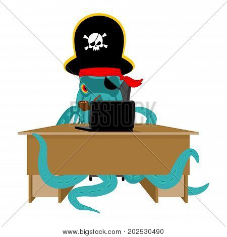 Web pirate Octopus and laptop. poulpe internet hacker and PC. devilfish buccaneer and computer. Eye patch and smoking pipe. pirates cap. Bones and Skull. See animal filibuster stock photo