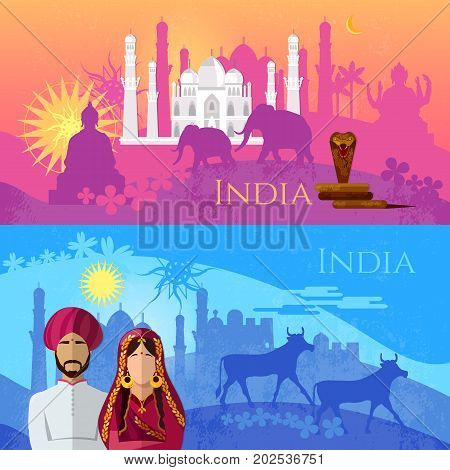 Travel to India banner. Culture traditions attractions and people of India. Taj mahal elephants saris gods Hinduism. illustration of India background set