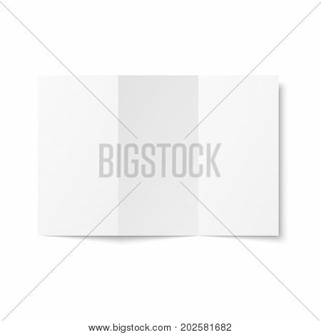 Blank trifold leaflet on white background top view. Zigzag folded paper sheet in A4. Mock up of empty cover or flyer isolated. 3D illustration stock photo