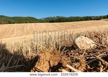 Landscaped view with rolling hills and tractor trials that bring you in the depths of the landscape. The summer is at its end and fields have already been harvested in the French europese pre alps stock photo