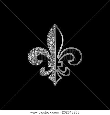Fleur de lis symbols silver glittering silhouettes - heraldic symbols. Vector Illustration. Medieval signs.Glowing french fleur de lis royal lily. Elegant decoration symbols. stock photo