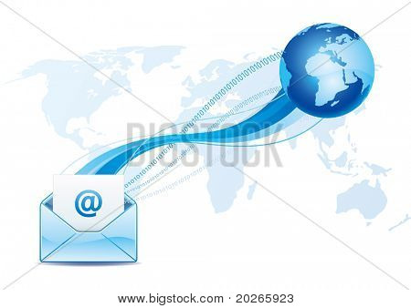 e-mail icon, global communication stock photo