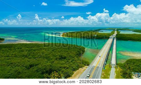 Overseas highway to Key West island, Florida Keys, USA. Aerial view beauty nature. stock photo