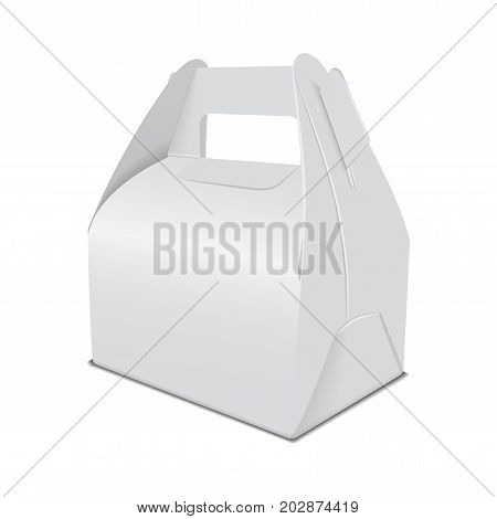 Realistic paper cake packaging box mock up, gift ontainer with handle. Take away food box vector template for your design stock photo