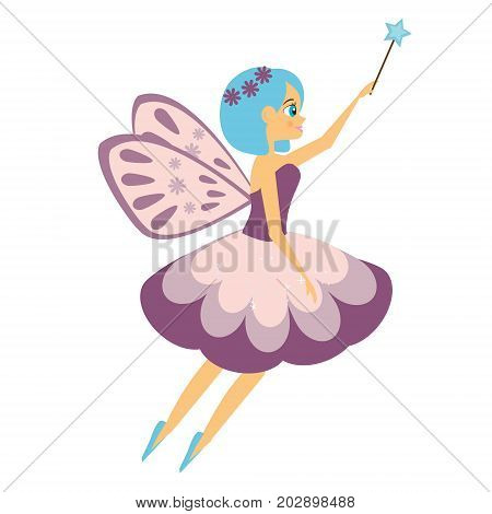 Beautiful flying fairy flapping magic stick. Elf princess with wand. Cartoon style. Isolated Vector illustration in cartoon style for kids and babies stock photo