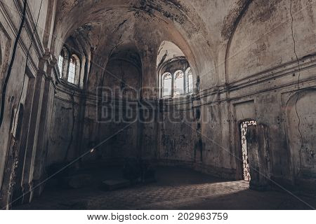 Mystical fantasy haunted abandoned temple. Interior of abandoned church of Dmitry Solunsky