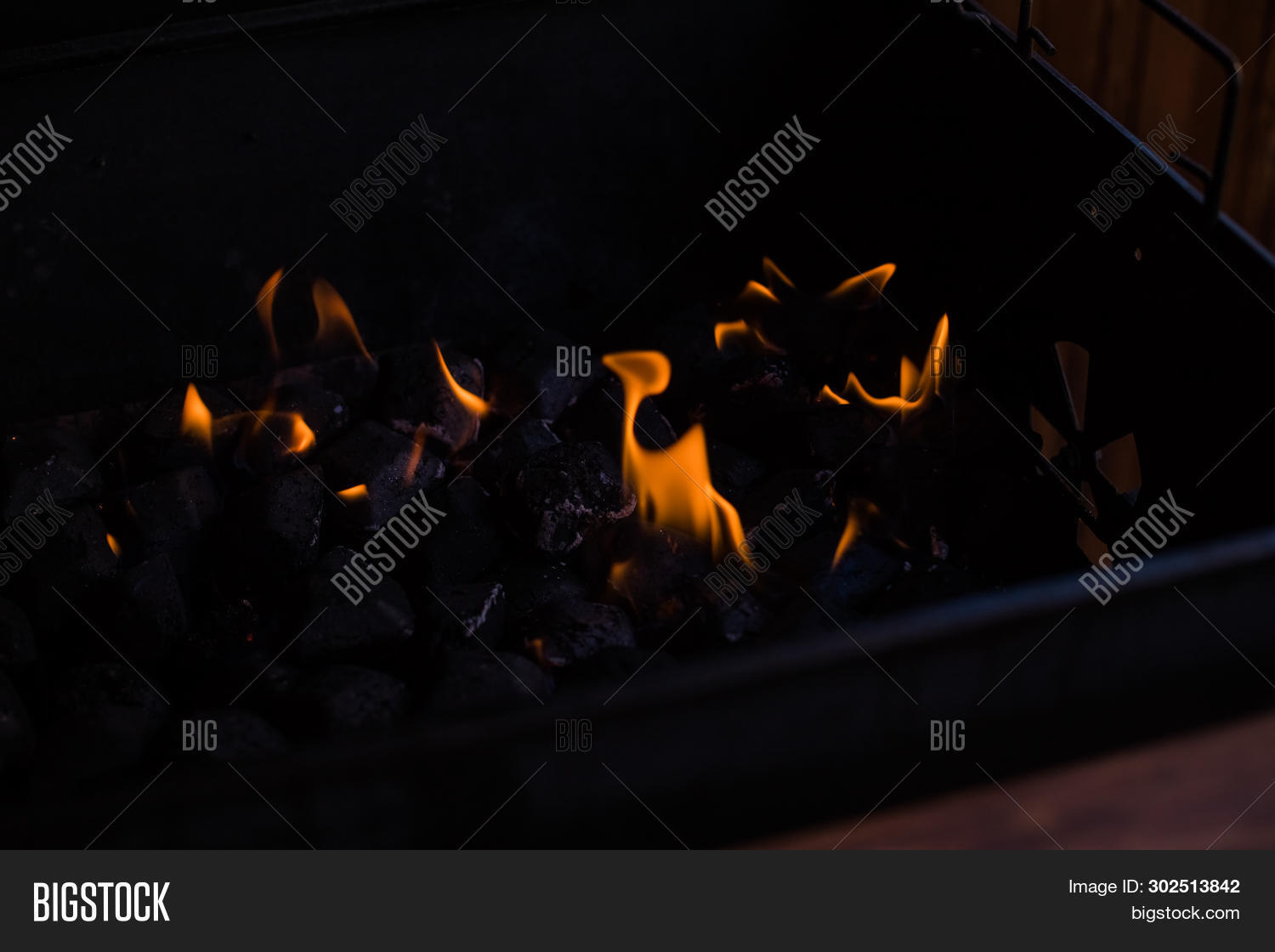 Hot Coals In The Fire.burning Coals In The Barbecue, Fire In The Grill.charcoal Preparing For Grilli
