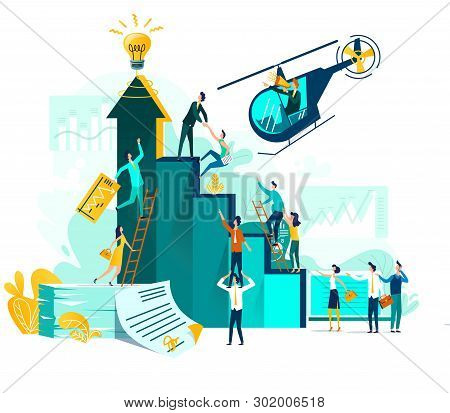 Goal achievement and teamwork businessvector concept, career growth and cooperation for development of project, idea, leader with loudspeaker in flying helicopter. Ladder of success, climbing people stock photo