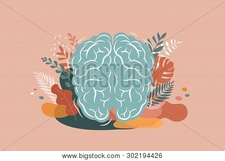 Brain, mind and mindfulness concept illustration. Vector background and poster with leaves and nature stock photo