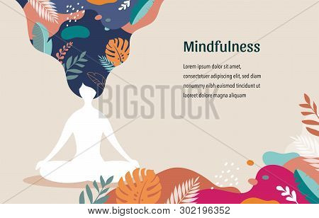 Mindfulness, meditation and yoga background in pastel vintage colors - women sitting with crossed legs and meditating. Vector illustration stock photo