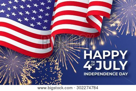 Usa Independence Day. Banner With Waving American National Flag And Fireworks. 4th Of July Poster Te