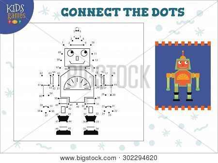 Dot to dot kids game vector illustration. Preschool children drawing activity with connecting dots for cartoon cute humanoid robot stock photo
