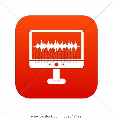 Sound waves icon digital red for any design isolated on white illustration stock photo