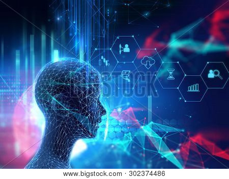 fintech icon  on abstract financial technology background represent Blockchain and  Fintech Investment Financial Internet Technology Concept. stock photo