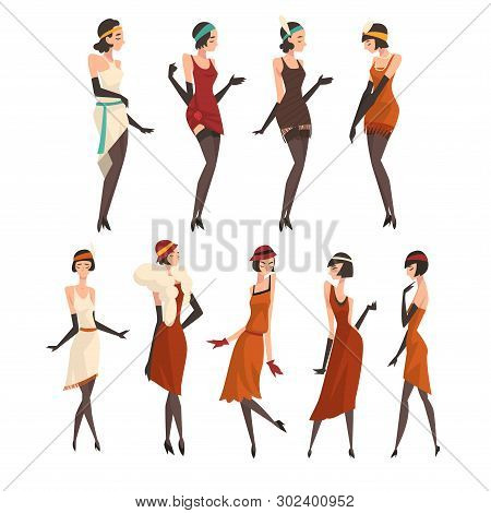 Elegant Women in Retro Dresses, Black Stockings and Gloves Set, Beautiful Flapper Girls of 1920s, Art Deco Style Vector Illustration stock photo