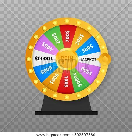 Roulette 3d fortune. Wheel fortune for game and win jackpot. Online casino concept. Internet casino marketing. Vector stock stock photo