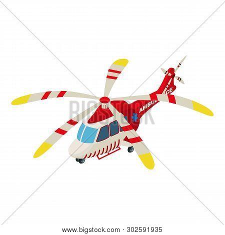 Ambulance helicopter icon. Isometric illustration of ambulance helicopter icon for web stock photo