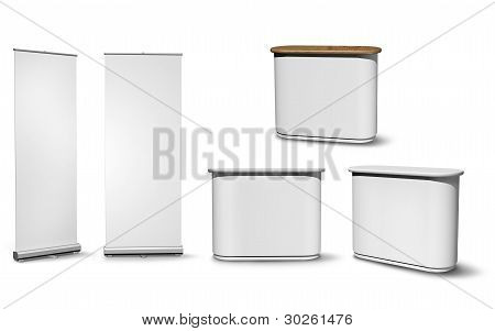 Blank roll-up poster and oval fair desk versions on white background stock photo