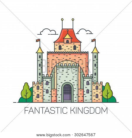 Beautiful magic castle for princess. Cartoon kingdom building for fairytale. Fantastic or fantasy fort for fairy tale background. Fort with towers or citadel landscape. Children or kid ethereal palace stock photo