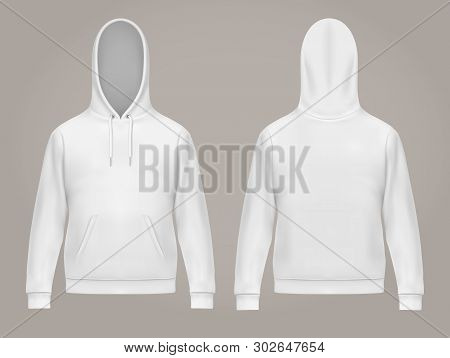 Set of isolated man hoodie or front and back of white men hoody with kangaroo pocket, drawstrings. Casual or urban sweatshirt, realistic male sweater with hood. Long sleeve clothing. Hooded fashion stock photo
