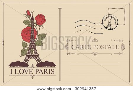 Retro postcard with the famous french Eiffel tower in Paris, France. Vector postcard in vintage style with words I love Paris, french landmark, roses, postmark and place for text stock photo
