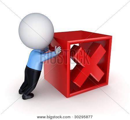 3d small person pushing a red cross mark. Isolated on white background. stock photo