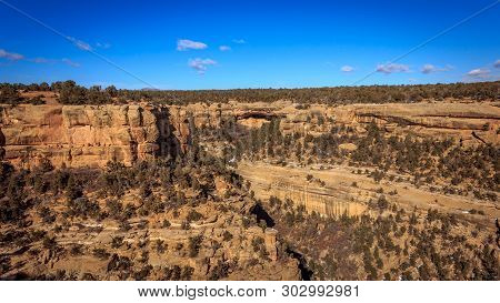 Cliff House starts to appear in the distance at Mesa Verde National Park stock photo