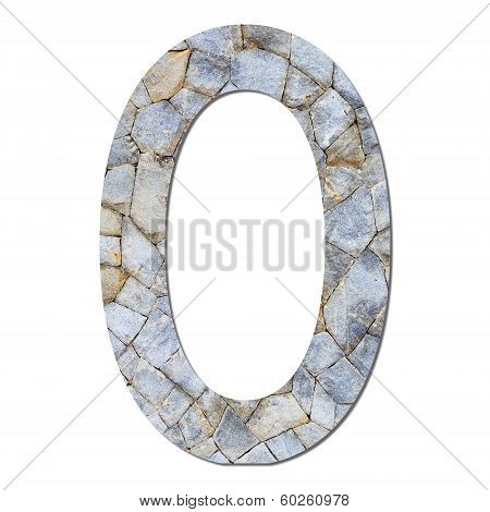 Font stone wall texture numeric 0 with shadow and path stock photo