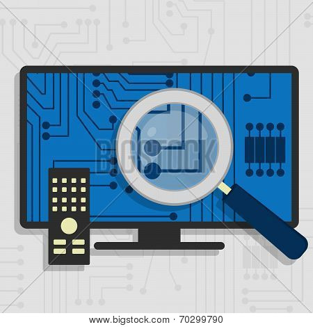 Analyzing the hardware and the electronic circuit of the Smart TV with a magnifying glass. stock photo