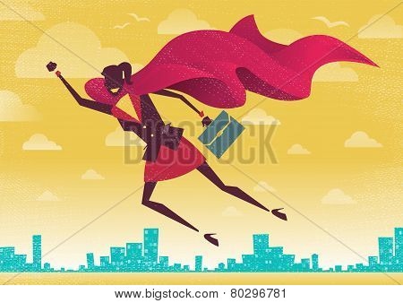 Businesswoman flies off to rescue another business deal that is need of her super powers. stock photo