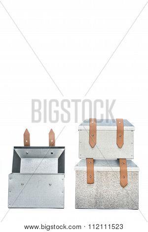 Three Metal Tool Box On White Background-Mini Fridge Magnet Skin (size 20x31)