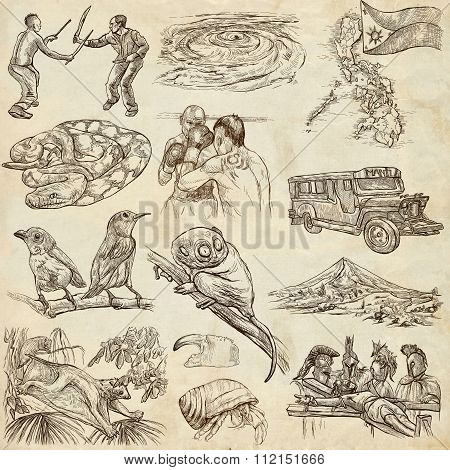Travel series PHILIPPINES - Collection of an hand drawn illustrations. Description Full sized hand drawn illustrations (freehand sketches). Drawing on old paper. stock photo