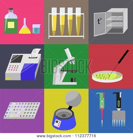 Microbiology laboratory icons set: labware thermostat microscope analyzer centrifuge etc. Vector illustration stock photo