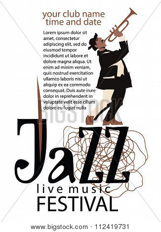 Man playing trumpet. Jazz poster concept. Jazz inscription. Use for jazz festival poster, jass club, live music cafe and web design. Easy editable elements. Isolated flat vectors. stock photo