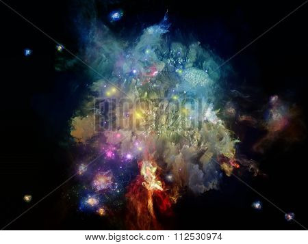 Dead Remember series. Graphic composition of nebulous organic forms and colors for subject of mind dream spirituality and imagination stock photo