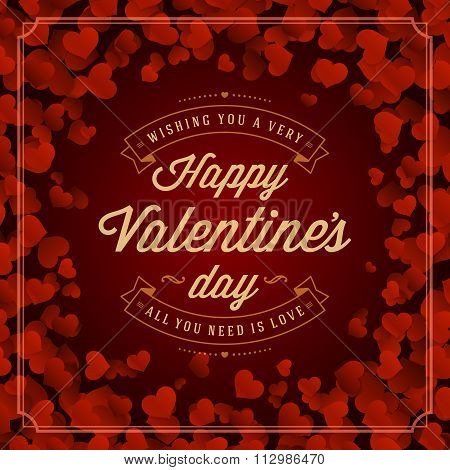 Valentine\'s Day greeting card or poster vector illustration