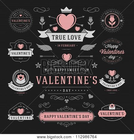 Valentine\'s Day Labels and Cards Set, Heart Icons Symbols, Greetings Cards, Silhouettes, Retro Typog