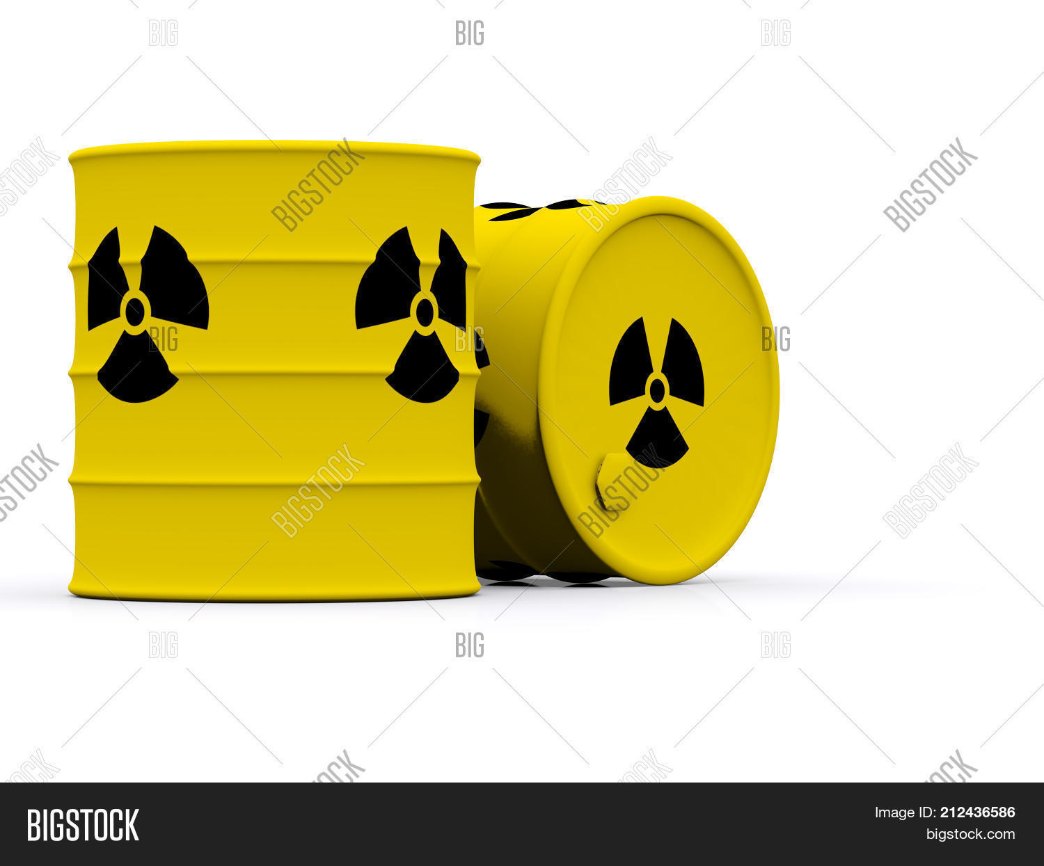 Yellow Barrels With Radioactive Waste 3d Photo Stock