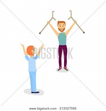 Medical rehabilitation, doctor helping a male patient to recover after trauma and say farewell to crutches, cartoon vector illustration on white background. Rehabilitation, recovery from trauma stock photo